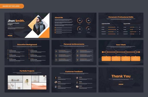 Portfólio pessoal e currículo cv visão geral dark modelo de slide de apresentação