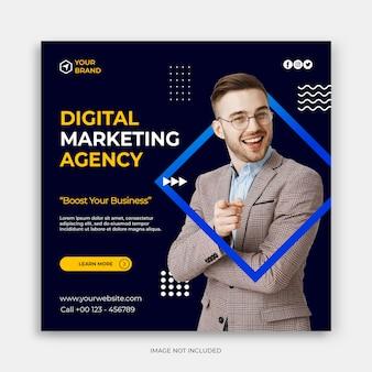 Pós-banner ou panfleto quadrado de marketing de negócios digitais em mídias sociais