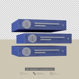 Pós notificação alerta mídia social ilustração 3d em azul pastel