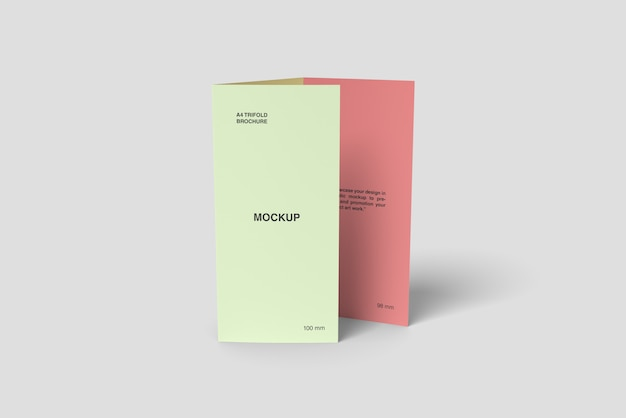 Posição da maquete de brochura dobrável em três partes a4