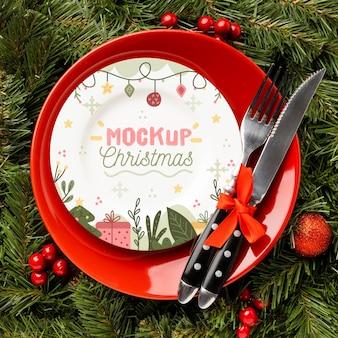 Posição plana da deliciosa maquete de comida de natal
