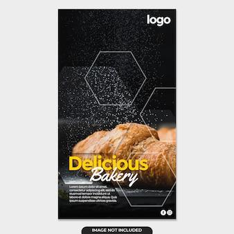Post de banner de histórias de padaria