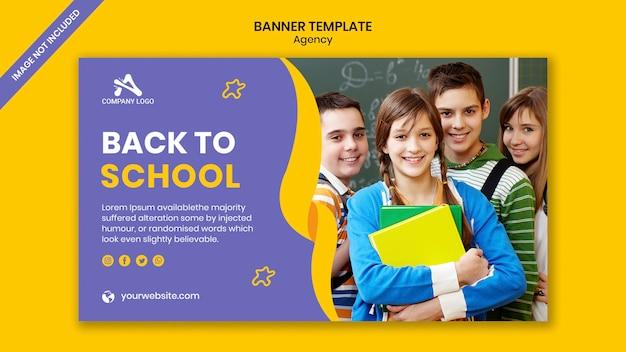 Post de banner de mídia social de admissão na educação escolar