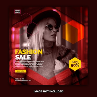 Post de banner do instagram de venda de moda