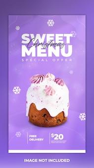 Post de bolo no instagram e modelo de menu de comida