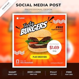 Post de comida de mídia social