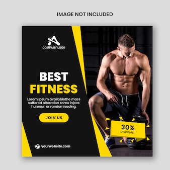 Post de fitness instagram ou folheto quadrado
