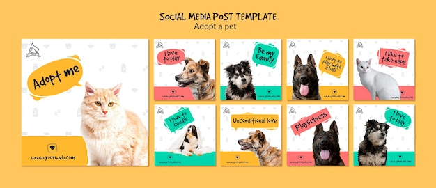 Post de mídia social com adoção de animais de estimação