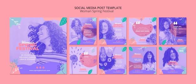 Post de mídia social com festival de primavera de mulher