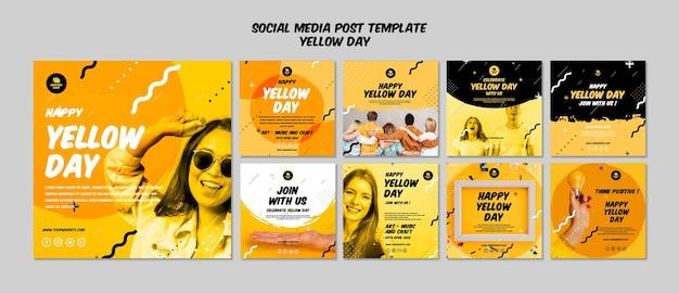 Post de mídia social com modelo de dia amarelo