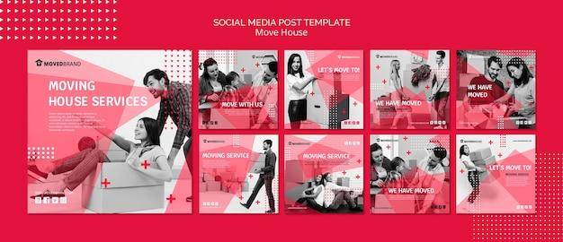 Post de mídia social com mudança de casa
