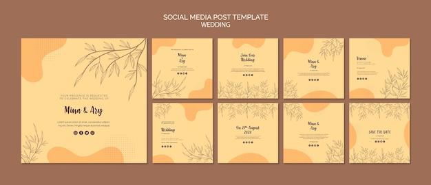 Post de mídia social com tema de casamento
