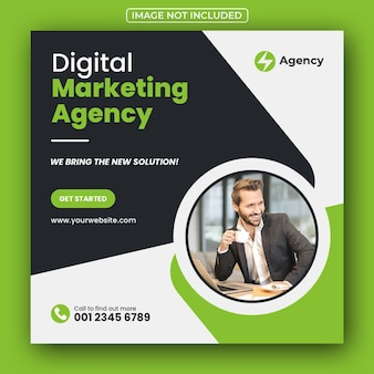 Post de mídia social da agência de marketing de negócios digitais e banner da web