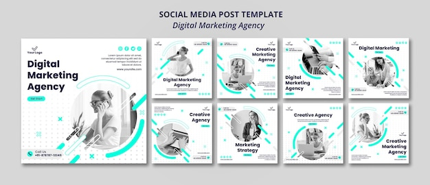Post de mídia social da agência de marketing digital