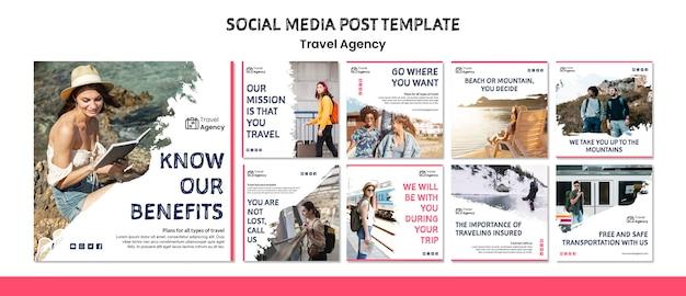 Post de mídia social da agência de viagens