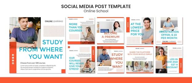 Post de mídia social da escola on-line