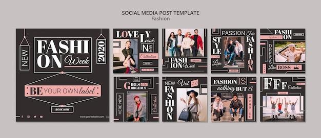 Post de mídia social da semana de moda