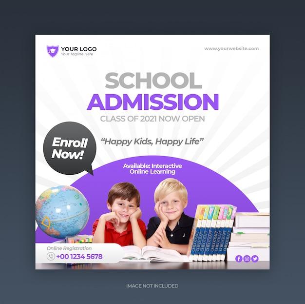 Post de mídia social de admissão de educação escolar e banner da web