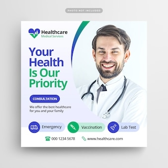 Post de mídia social de assistência médica e banner da web