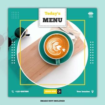 Post de mídia social de banner de menu de comida