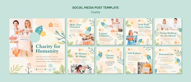 Post de mídia social de caridade