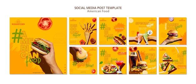 Post de mídia social de comida americana