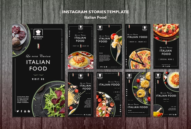 Post de mídia social de comida italiana