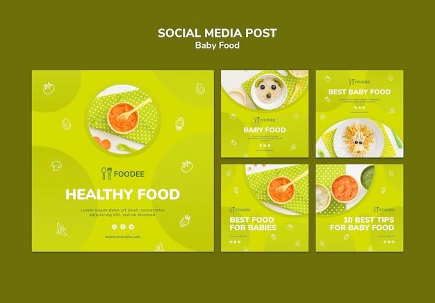 Post de mídia social de comida para bebê