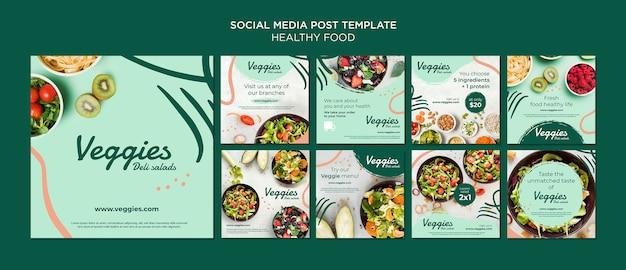 Post de mídia social de comida saudável