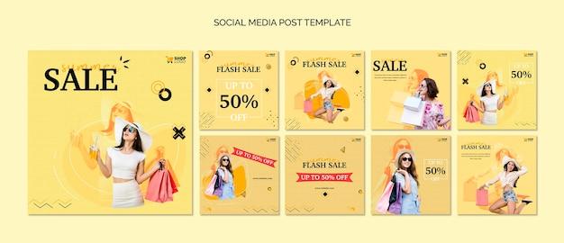 Post de mídia social de compras online