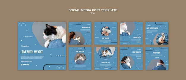 Post de mídia social de conceito de amante de gato