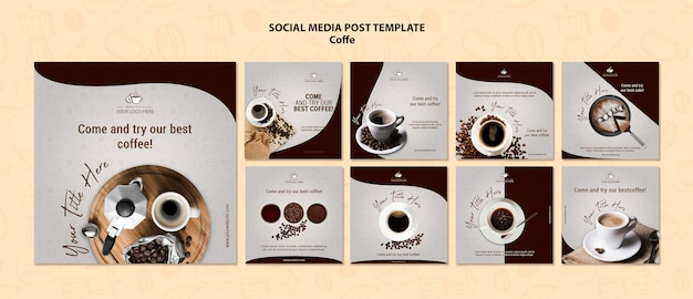 Post de mídia social de conceito de café