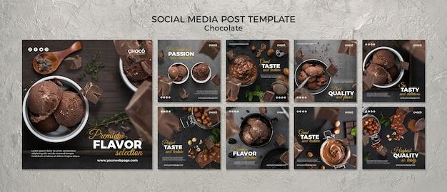 Post de mídia social de conceito de chocolate