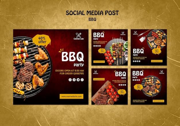 Post de mídia social de conceito de churrasco