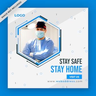 Post de mídia social de coronavírus ou covid-19 ou design de banner da web