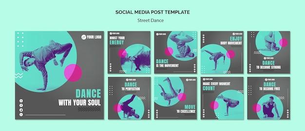 Post de mídia social de dança de rua