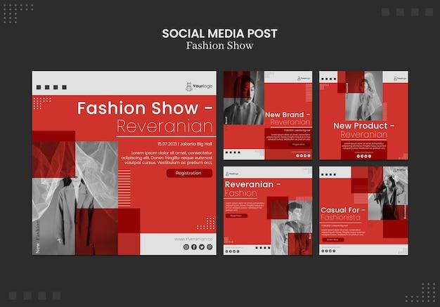 Post de mídia social de desfile de moda