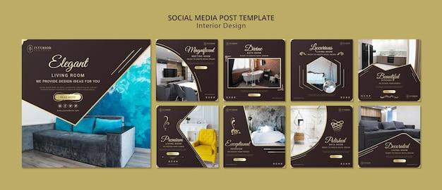 Post de mídia social de design de interiores