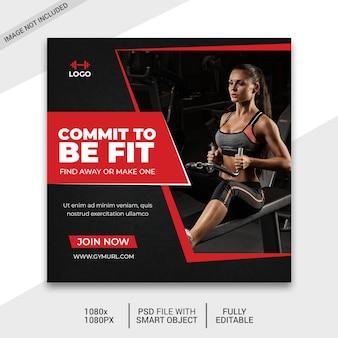 Post de mídia social de fitness