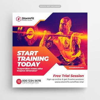 Post de mídia social de ginásio de fitness & web banner