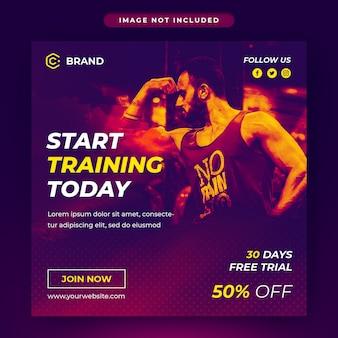 Post de mídia social de ginásio e fitness e modelo de banner da web