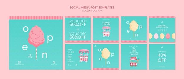 Post de mídia social de loja de doces conjunto modelo