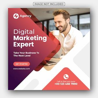 Post de mídia social de marketing de negócios digitais e banner da web
