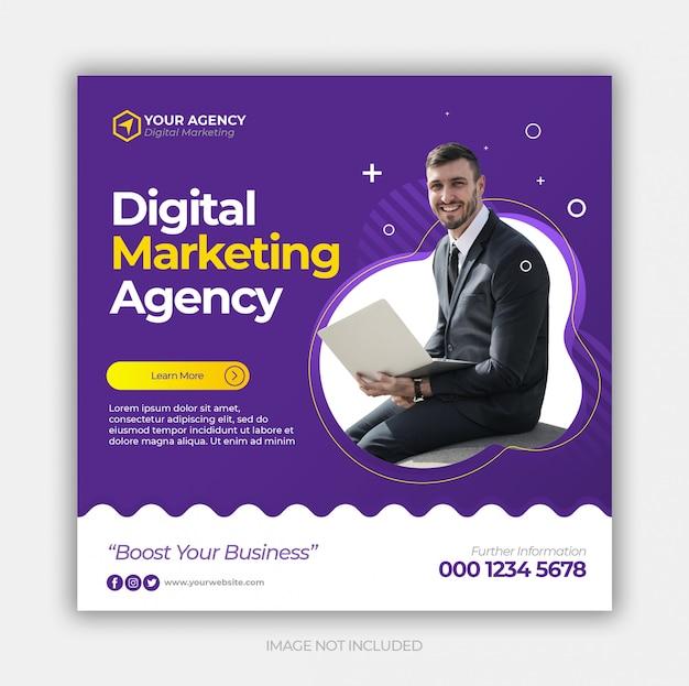 Post de mídia social de marketing de negócios digitais ou banner quadrado web