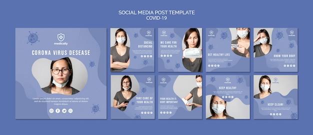 Post de mídia social de máscara de mulher