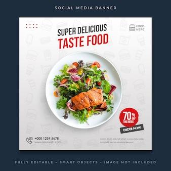 Post de mídia social de menu de venda de comida de restaurante