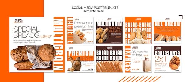 Post de mídia social de negócios de pão