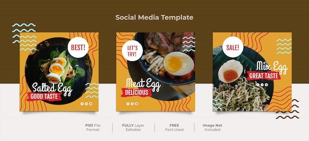 Post de mídia social de ovo salgado de memphis japonês