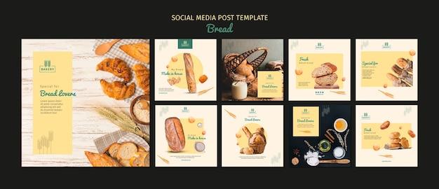 Post de mídia social de padaria