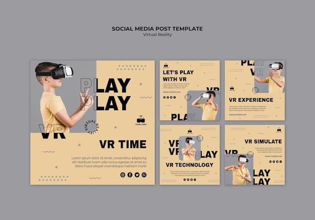 Post de mídia social de realidade virtual